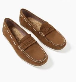 Zara Boys Leather Penny Loafers Shoes Brown Size 7 NWT