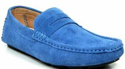 Bruno Marc Men's Lane-01 Blue Suede Leather Penny Loafers Mo