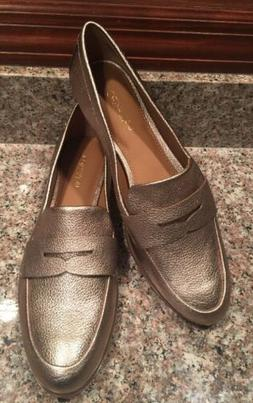 CALVIN KLEIN CELIA SOFT PLATINUM GOLD LEATHER PENNY LOAFERS