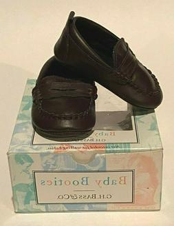 BASS & CO BABY BURGANDY BROWN WEEJUNS PENNY LOAFERS SHOES SI