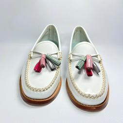 G.H. BASS & CO.  WEEJUNS  WILLOW Tassel Penny Loafers WHITE
