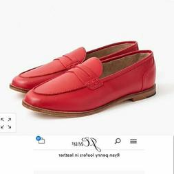 J. Crew  Ryan Womens 9 Leather Penny Loafers NEW  Virbrant F