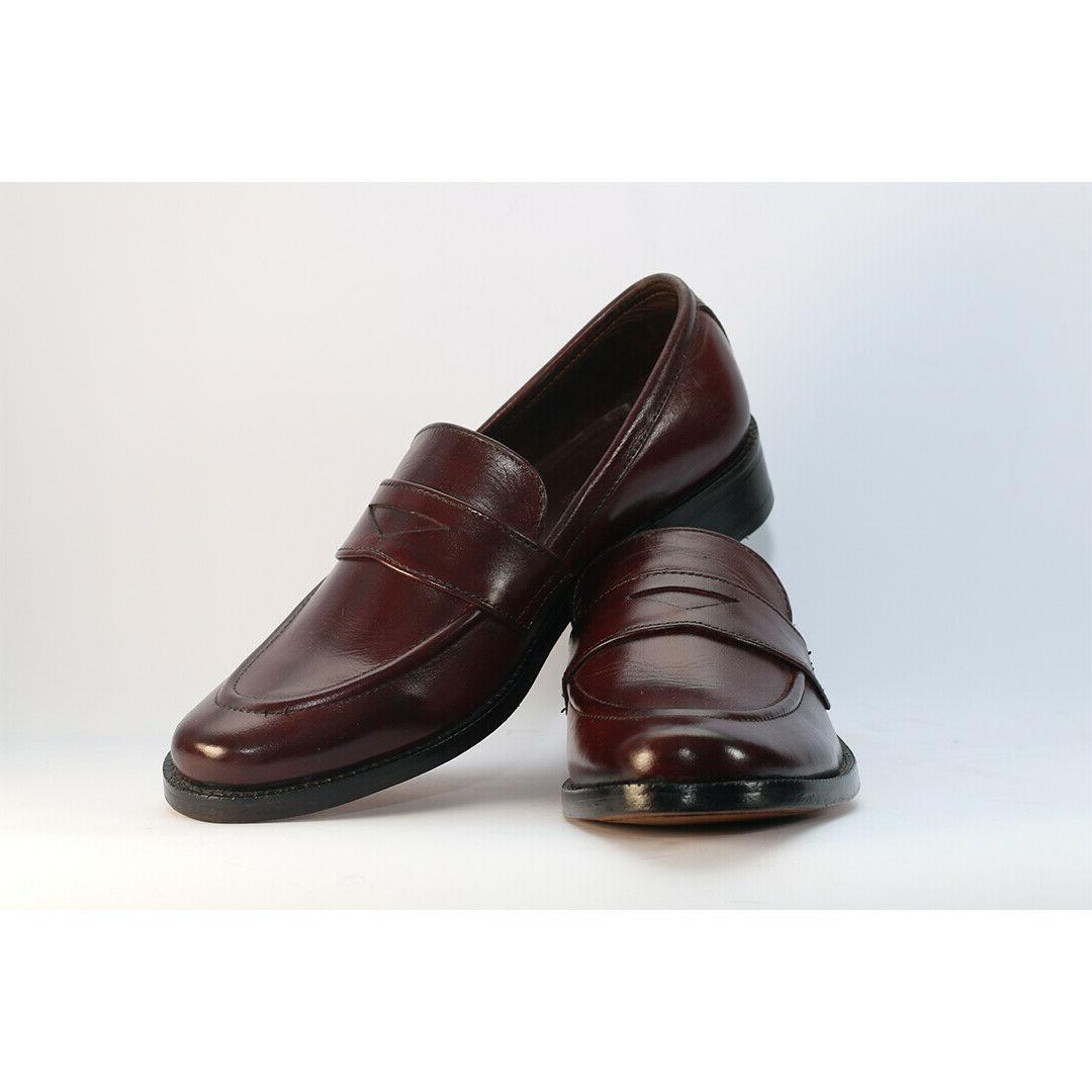men s brown genuine leather penny loafer