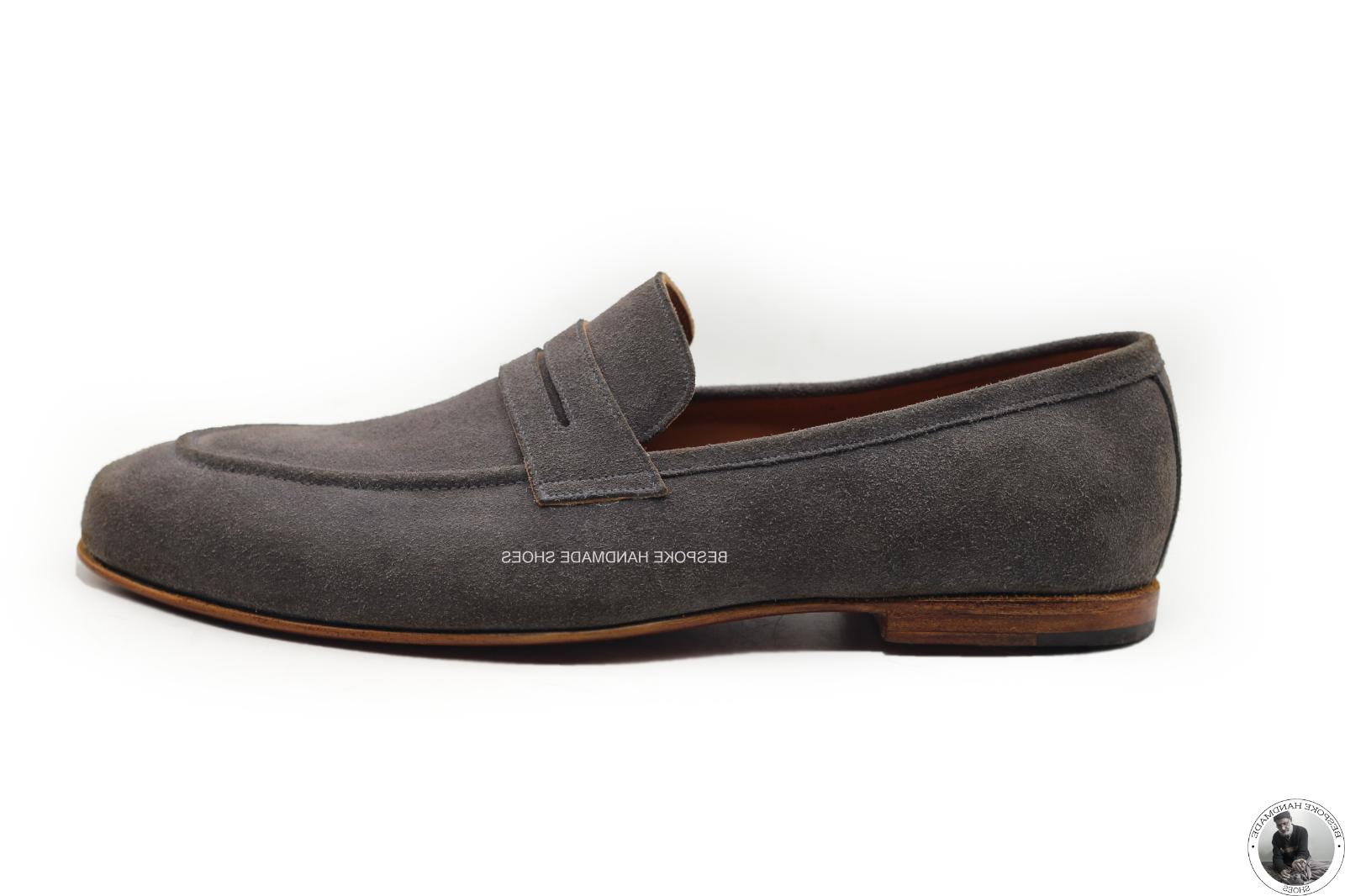 men s grey suede penny loafers slippers