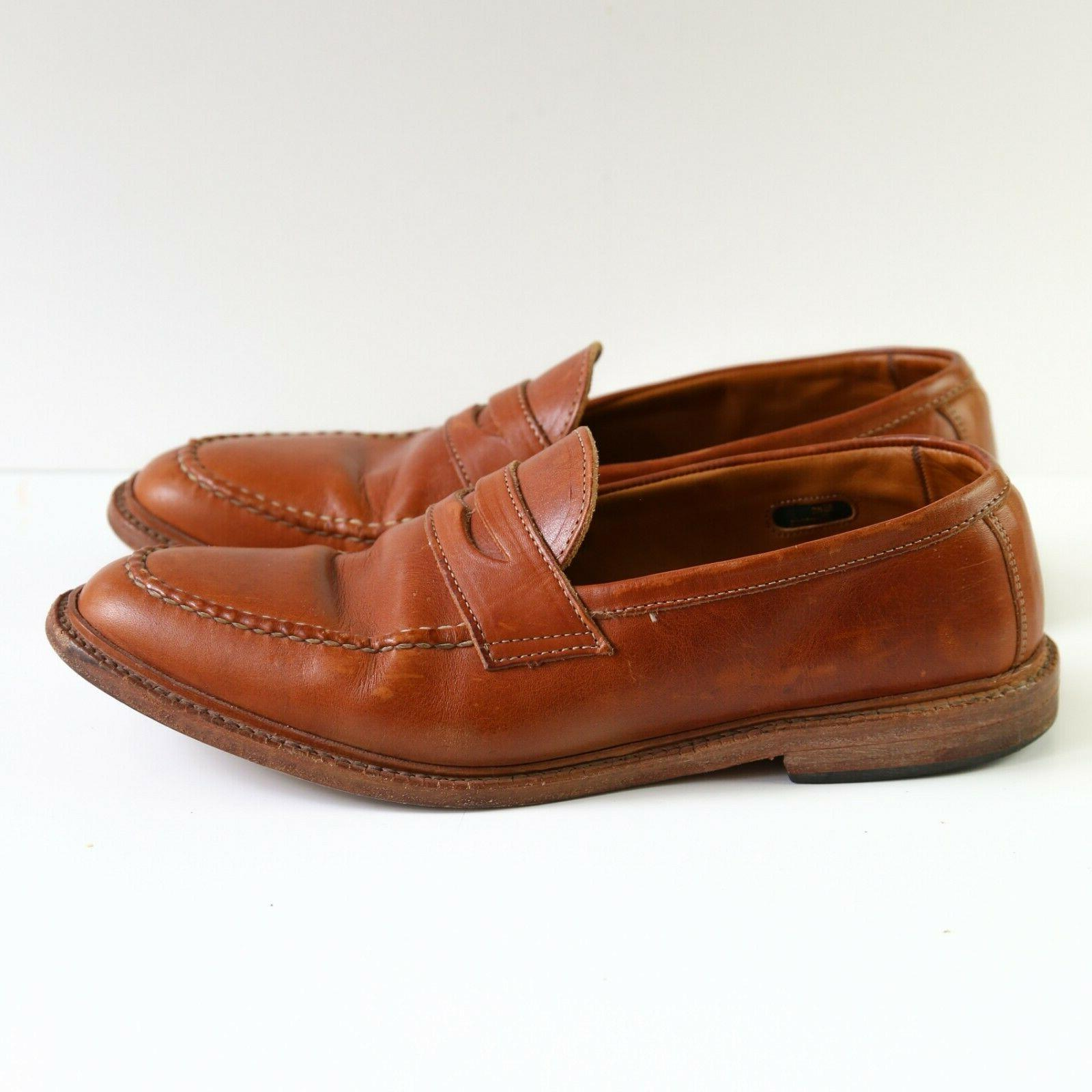 Allen Mens Penny Loafers Size D Brown Made in