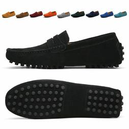Men Casual Driving Loafers Suede Leather Moccasins Slip On P