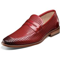 Stacy Adams Men's Belfair Moc Toe Penny Loafer Red Leather D
