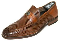 Men's Dress Shoes Moc Toe Slip On Penny Loafers Tan Leather