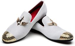 JITAI Men's Penny Slip-On Leather Lined Loafer Luxury White