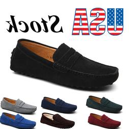 Men's Suede Leather Penny Loafers Slip On Driving Moccasins