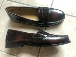 Cole Haan Mens Penny Loafers Burgundy Leather Slip On Dress