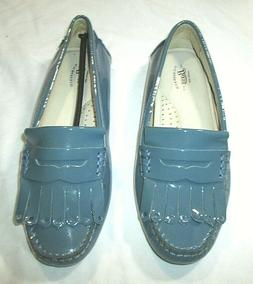 New BASS Kilte Penny Loafers Sky Blue Patent Leather Sz 6M N