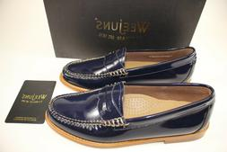NIB WEEJUNS G.H. BASS Size 7 Women's Navy Patent Leather WHI