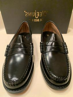 NWT MSRP $110 WEEJUNS GH BASS CO LARSON BLACK PENNY LOAFERS