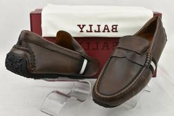 BALLY PERCEVAL BROWN LEATHER WEB LOGO PENNY LOAFERS DRIVING