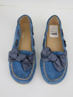 GEOX Respira Suede Driving Mocs Penny Loafers BLUE womens EU
