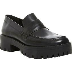 Steve Madden Womens Crew Black Leather Penny Loafers 7.5 Med