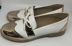 Women's loafers size 9 Whiteand Gold Flats Shoes Penny Loa